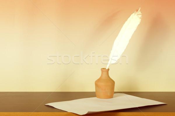 чернила пер бумаги ретро текста Сток-фото © sharpner