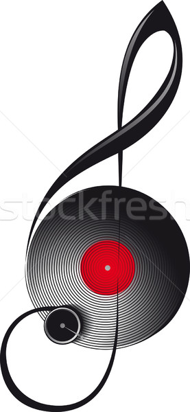 treble clef in the form of turntable Stock photo © sharpner