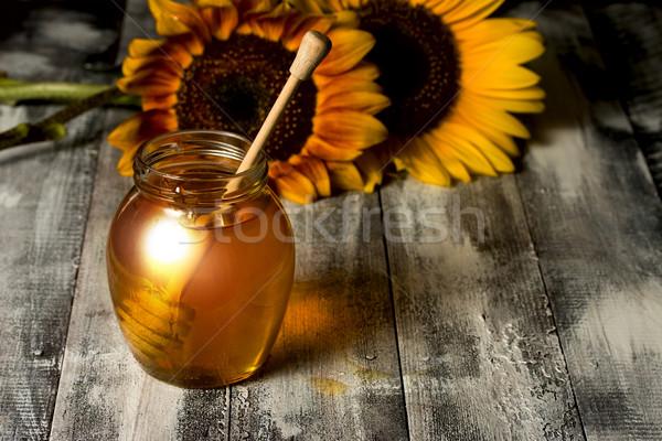 Stock fotó: Méz · edény · napraforgók · fakanál · durva · fa · asztal