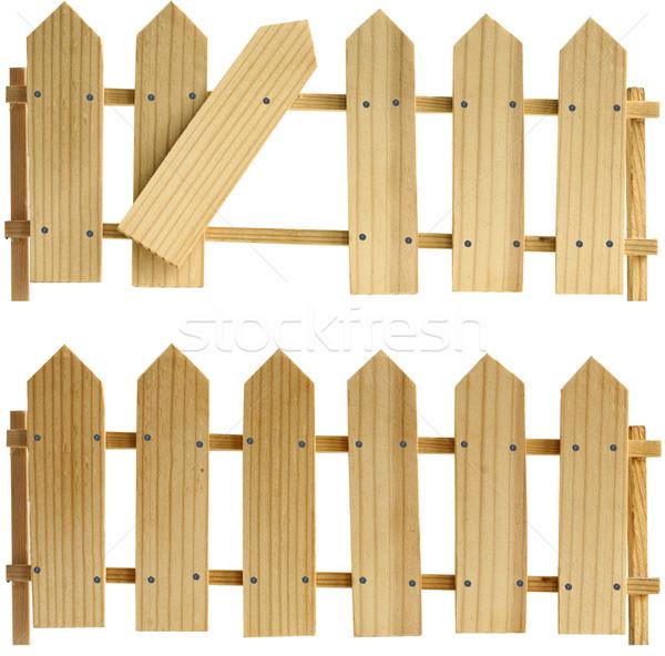 Dwa jeden ogrodzenia tekstury drewna Zdjęcia stock © sharpner
