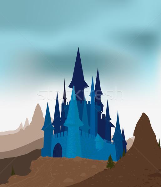 Oude kasteel bergen grijs hemel Stockfoto © sharpner