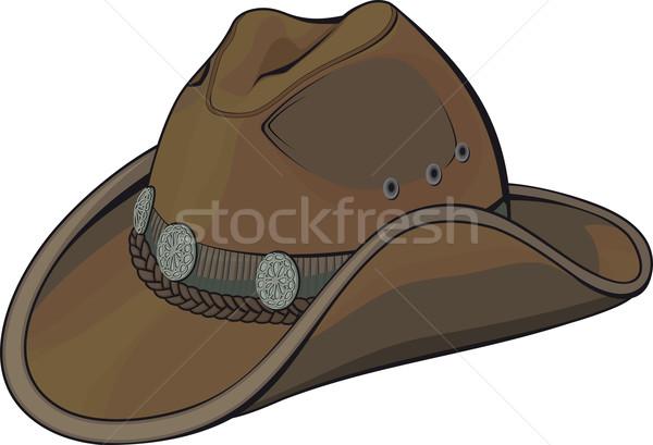 Cowboy hat pasek srebrny ozdoby odizolowany biały Zdjęcia stock © sharpner