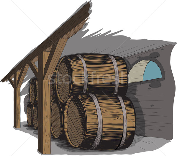 old wine cellar with rows of barrels Stock photo © sharpner