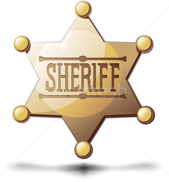Sheriff csillag hat fehér árnyék fenék Stock fotó © sharpner