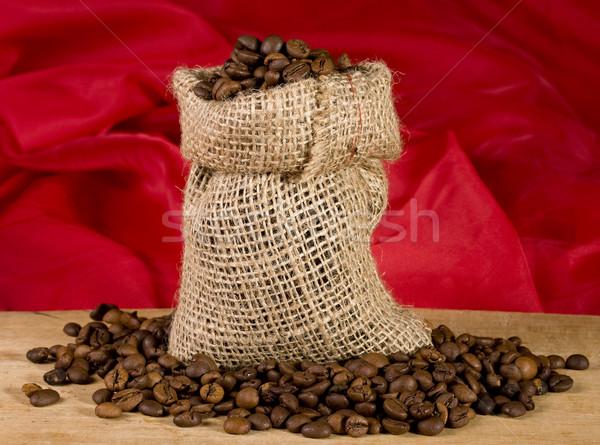 Zak koffie stilleven Rood textuur achtergrond Stockfoto © sharpner
