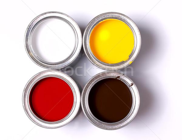 Quatro bancos pintar branco ver abstrato Foto stock © sharpner