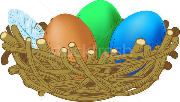 Drie gekleurde eieren liggen nest Pasen illustratie Stockfoto © sharpner