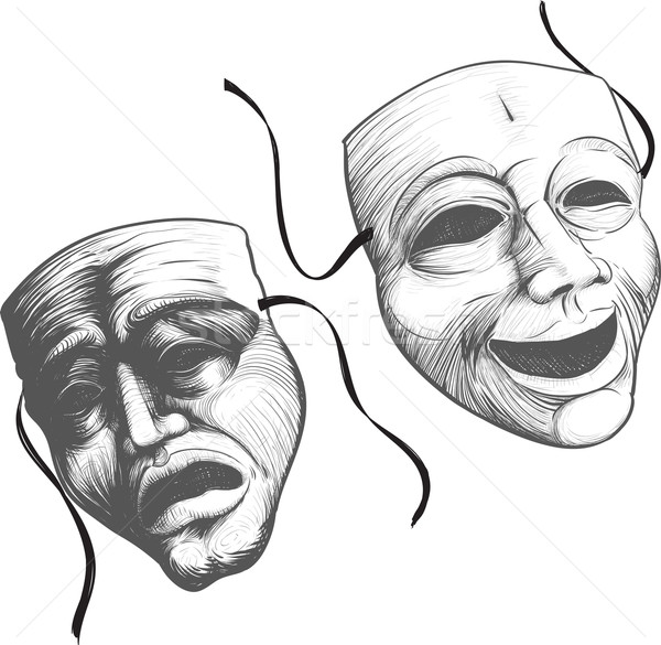 Twee theater maskers klassiek theater triest Stockfoto © sharpner