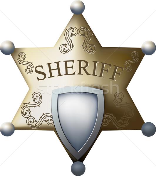 Sheriff kitűző üres hely cím számok izolált Stock fotó © sharpner