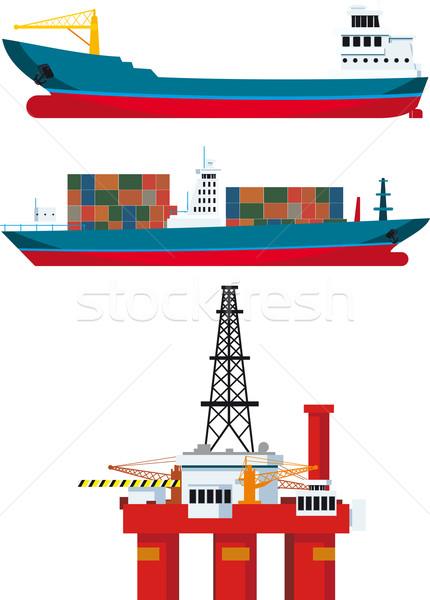 Carga navios Óleo isolado branco Foto stock © sharpner