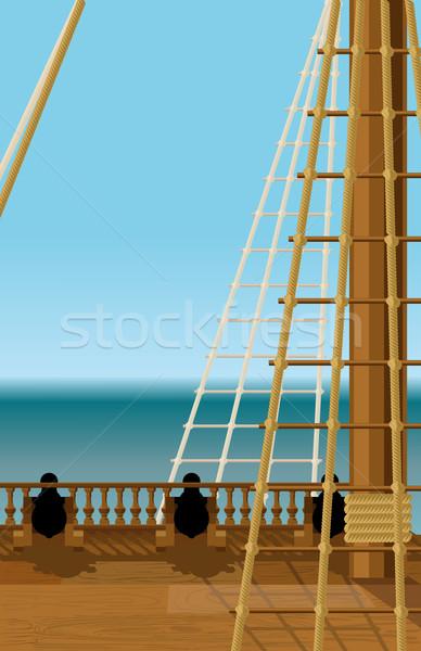 ストックフォト: デッキ · 古い · 船 · 空っぽ · オープン · 海