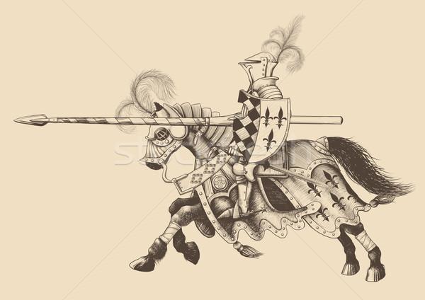 верхом Knight копье готовый противник Сток-фото © sharpner