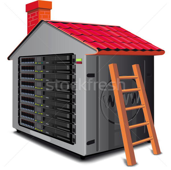 Web server rack designed as a house with a roof Stock photo © sharpner
