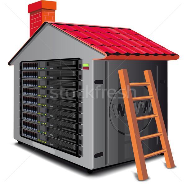 веб-сервер стойку дома крыши карта дизайна Сток-фото © sharpner