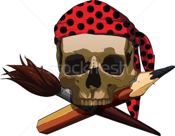 Crânio artista louco escove lápis Foto stock © sharpner