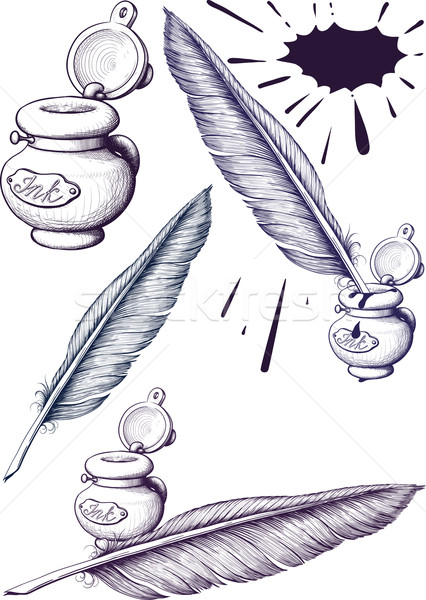 quill pen and inkwell Stock photo © sharpner
