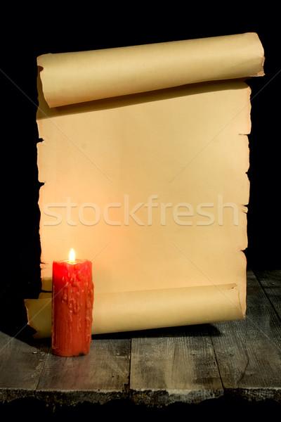 ヴィンテージ スクロール 古代 木製 キャンドル ストックフォト © sharpner