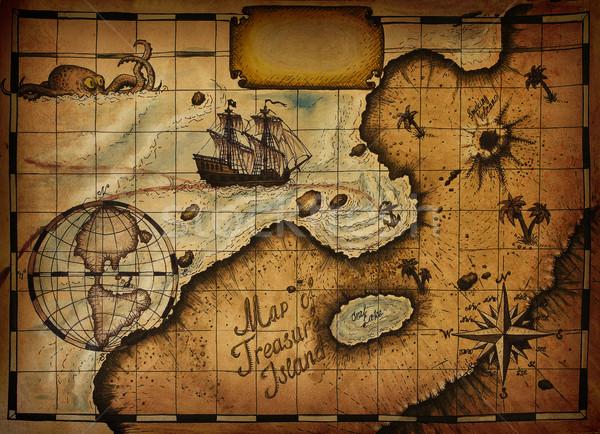 Mapa tesouro ilha caminho texto Foto stock © sharpner