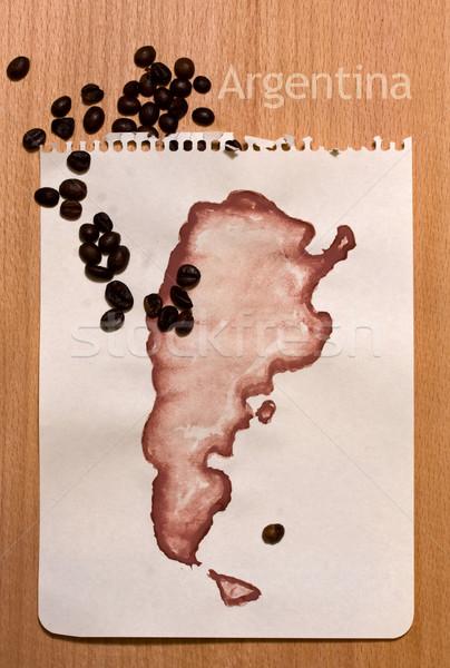 Carte Argentine fiche papier grains de café Photo stock © sharpner