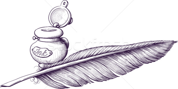 Inkwell and quill pen Stock photo © sharpner