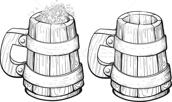 Bier houten mok een schuim tweede Stockfoto © sharpner