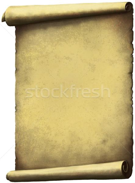 Oude scroll papier verticaal geïsoleerd witte Stockfoto © sharpner