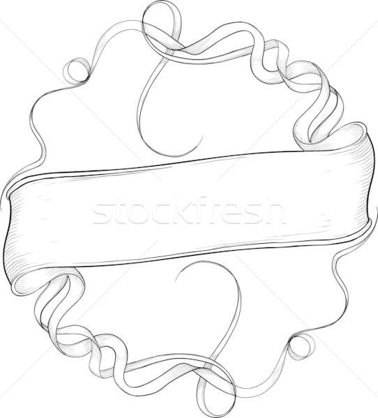 Preto e branco bandeira fita círculo cor isolado Foto stock © sharpner