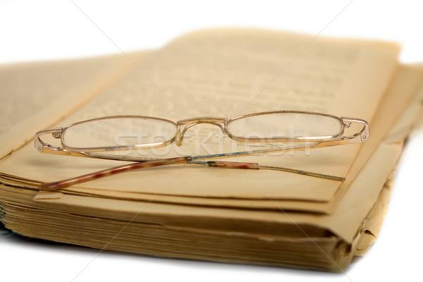 図書 眼鏡 古い オープン みすぼらしい 老眼鏡 ストックフォト © sharpner