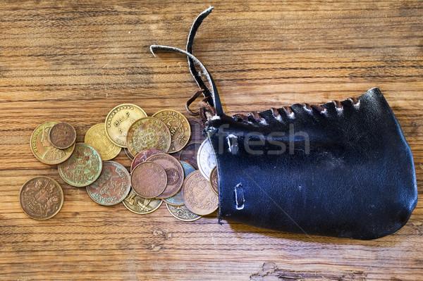 財布 コイン 古い オーク 木板 ビジネス ストックフォト © sharpner