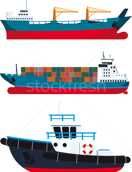 cargo Vessels and tugboat Stock photo © sharpner