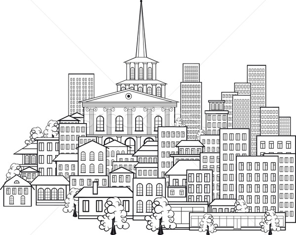 Piccola città pochi strade principale edifici Hill Foto d'archivio © sharpner