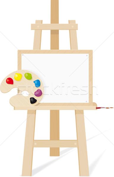 木製 イーゼル 空っぽ キャンバス パレット ブラシ ストックフォト © sharpner