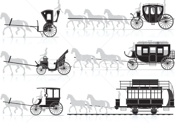 Silhouette of old horse-drawn carriages from the sled Stock photo © sharpner