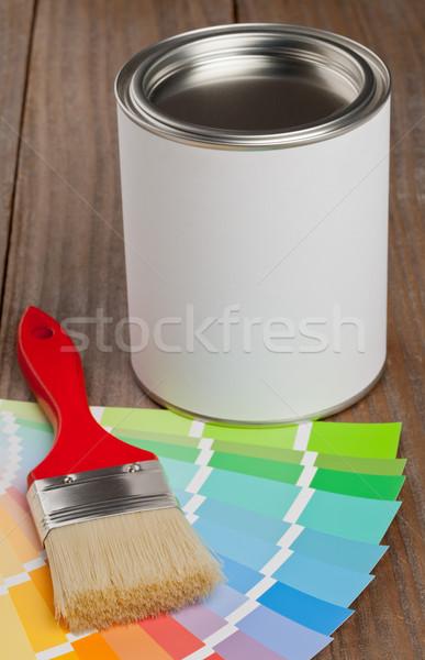 Colore grafico guidare pennello secchio di vernice legno Foto d'archivio © ShawnHempel