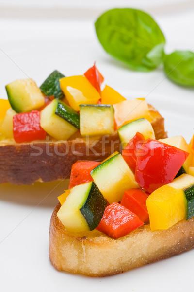 Bruschetta from zucchini and bell peppers Stock photo © ShawnHempel