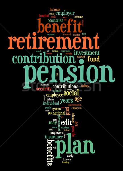 Nyugdíj nyugdíj címke felhő szófelhő címkék Stock fotó © ShawnHempel