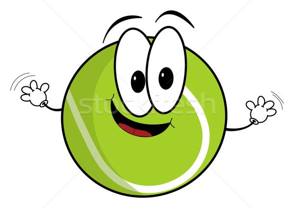 Szczęśliwy cartoon piłka tenisowa charakter ilustracja Zdjęcia stock © ShawnHempel