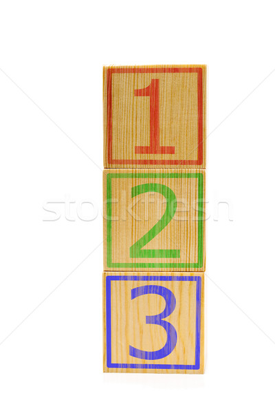 Stacked brown wooden cubes with numbers one, two and three Stock photo © ShawnHempel