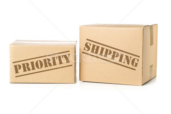 Kettő karton prioritás szállítás lenyomat karton Stock fotó © ShawnHempel