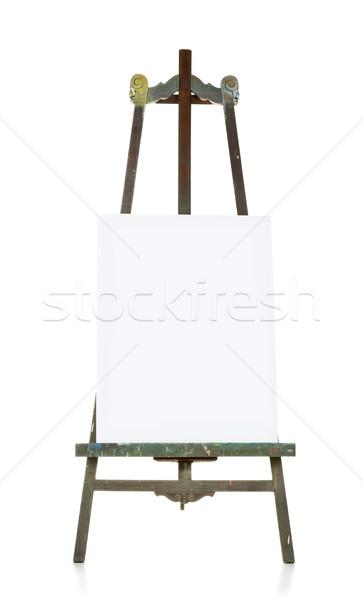 Oude schildersezel doek sjabloon houten witte Stockfoto © ShawnHempel