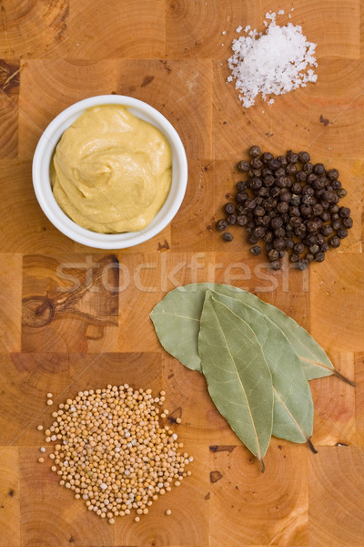 Mustard with ingredients Stock photo © ShawnHempel