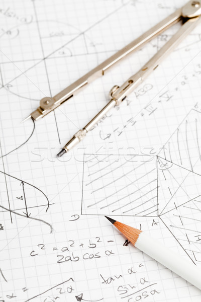 Matematik matematiksel notlar geometri trigonometri kalem Stok fotoğraf © ShawnHempel