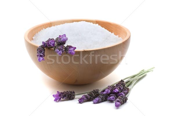 Lavanta sabun tuz beyaz arka plan Stok fotoğraf © ShawnHempel