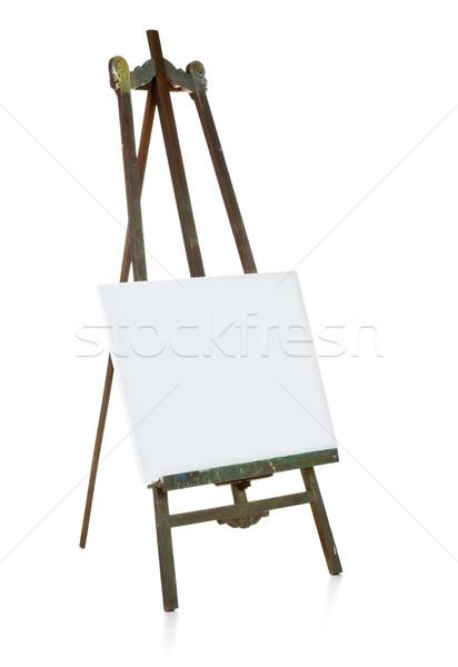 öreg festőállvány vászon sablon fából készült fehér Stock fotó © ShawnHempel