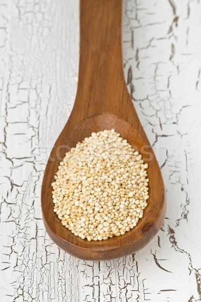 Crudo semillas cuchara de madera blanco mesa rústico Foto stock © ShawnHempel