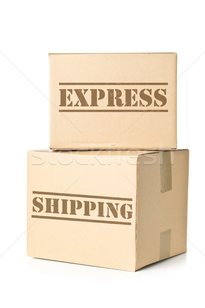 Two carton parcels with Express Shipping imprint Stock photo © ShawnHempel