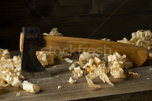 Carpenters woodworking carving axe work tool on wood table in wo Stock photo © ShawnHempel