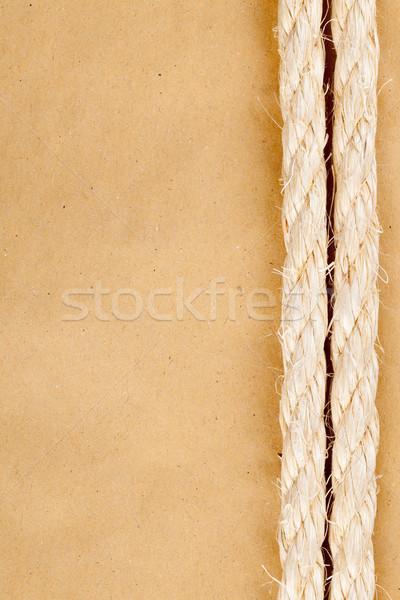 Nautique vieux jaune papier Manille corde Photo stock © ShawnHempel