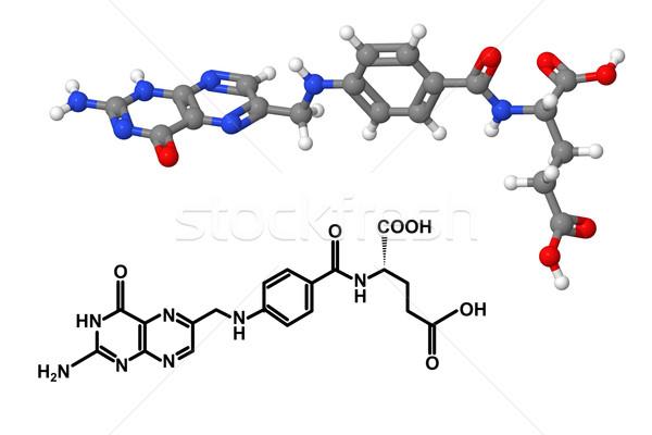 Vitamin B9 molecule with chemical formula Stock photo © ShawnHempel