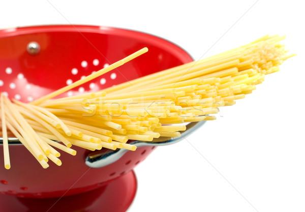 Spaghetti surowy tle grupy obiedzie makaronu Zdjęcia stock © ShawnHempel